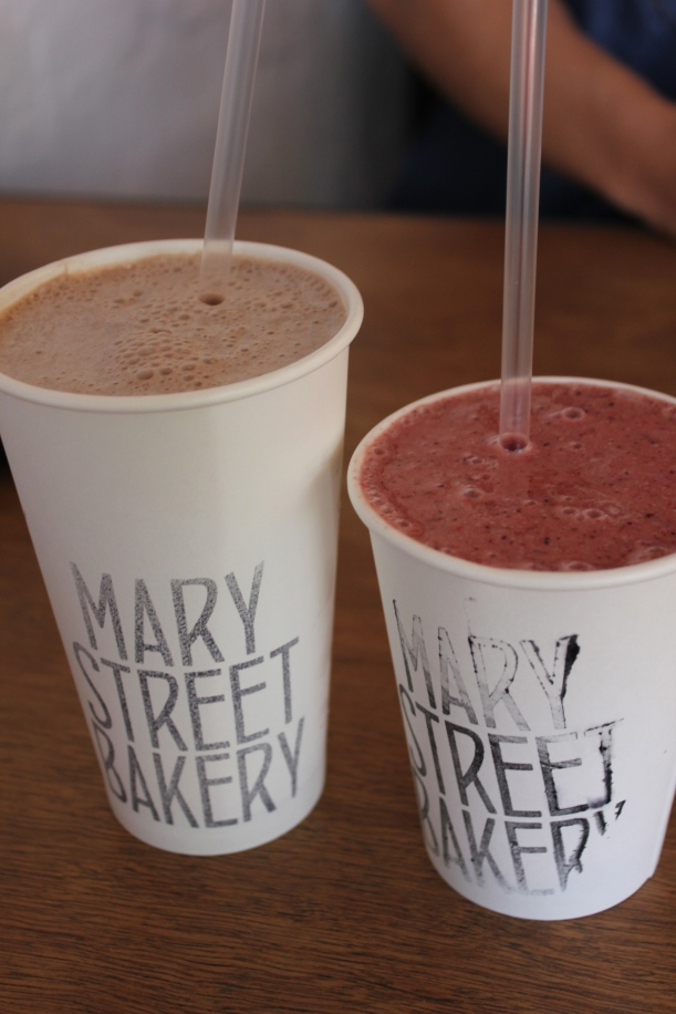 Chocolate Malt Milkshake ($6.50) and Blueberry, raspberry, banana ...